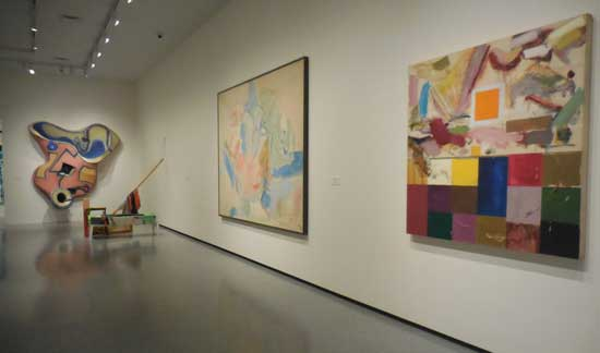 Installation shot of the Frankenthaler, with Joan Snyder on right and Elizabeth Murray on far wall