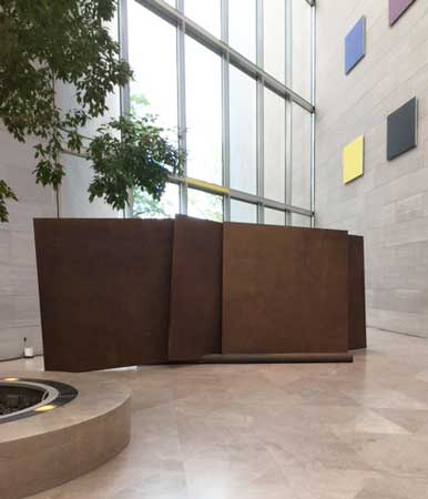 """Richard Serra, """"Five Plates, Two Poles,"""" 1971"""