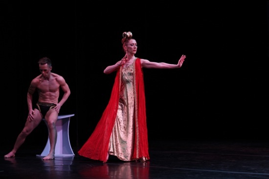 Humbled Theseus (Tadej Brdnik) with proud Phaedra (Blakely White-McGuire in the title role). Photo: Costas