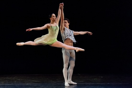 Rie  Oguri and Steven Melendez in Richard Alston's A Rugged Flourish. Photo: Darial Sneed