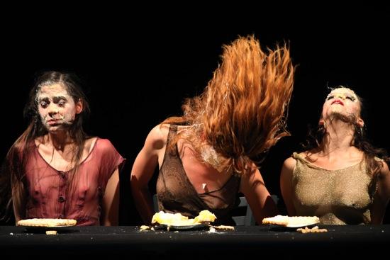 L to R: Melissa Togood, Katie Stirman, and Ivonne Batanero deal with Snow White. Photo: Julieta Cervantes