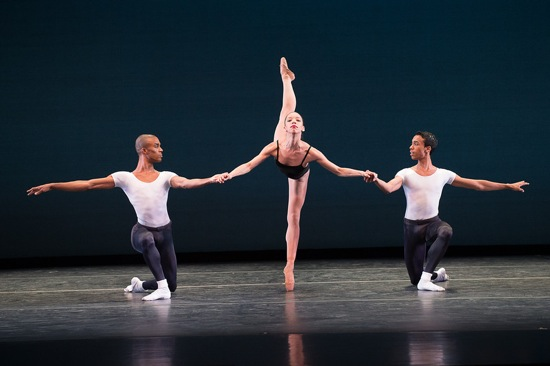 The second Pas de Trois from Balanchine's Agon. L to R: Anthony Savoy, Chrystyn Fentroy, and Francis Lawrence. Photo: Christopher Duggan