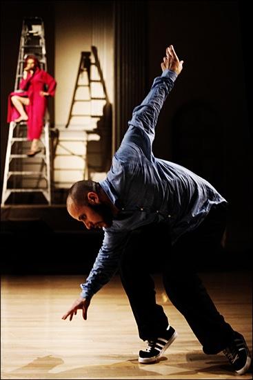 Noworol talks. Seebacher dances. Photo: Aeric Meredith Goujon
