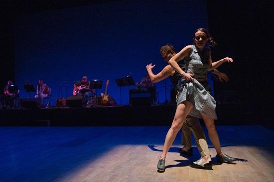 Michelle Dorrance mixes it up with Nicholas Van Young. Photo: Christopher Duggan