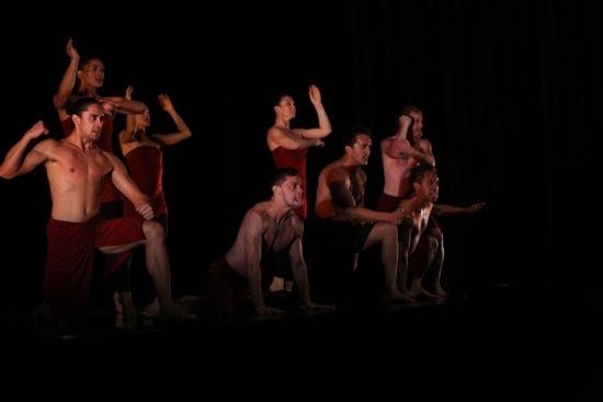 Members of Atamira Dance Company in Moss Patterson's Haka. Photo: Gregory Yamamoto