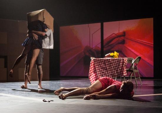 Caroline Fermin and Dan Walczak boxed; Emily Terndrup on floor. Photo: Yi-Chun Wu