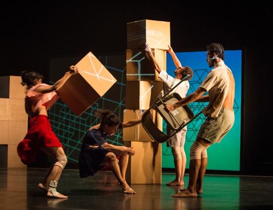 Building and holding onto. (L to R): Francesca Romo, Caroline Fermin, Dan Walczak, and Matthew Perez in Andrea Miller's Fold Here. Photo: Yi-Chun Wu
