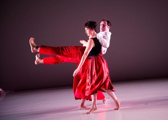 Rebecca Serrell Cyr hoists Levi Gonzalez in State of Heads. Photo: Ian Douglas