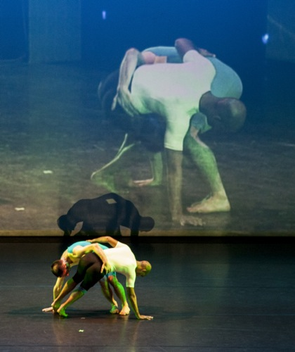 Paul Singh and Christopher Williams dance with their shadows and their doubles. Photo: Marina Levitskaya