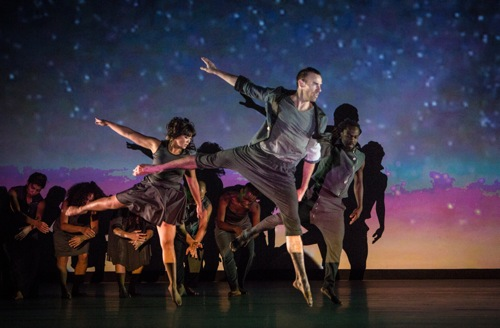 Foreground (L to R): Charisse Skye Aguirre, Kevin Williamson, and Michel Kouakou in Stardust. Photo: Yi-Chun Wu