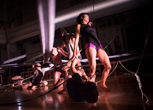 Driscoll's maypole on the rise, Nikki Zialcita standing. Photo: Yi-Chun Wu