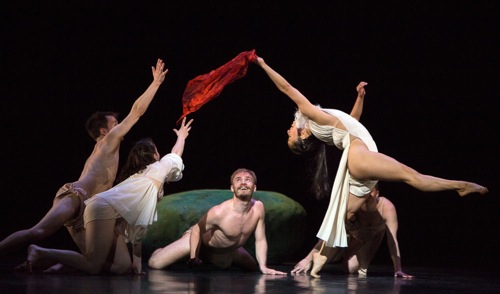 Snow White plays with  amorous woodland dwellers. (L to R): Liam Warren, Anais Pensé, Aurélien Charrier, and (hidden) Céline Marié. Photo: Yi-Chun Wu