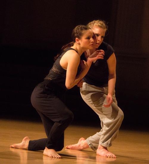 Madeline Wilcox (L) and Julia Jurgilewicz in Suzanne Bearhs's Amid. Photo:  Yi-Chun Wu