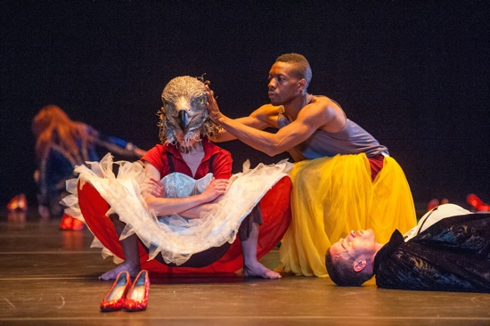 (L to R): Elsa Monguillot de Mirman,, Randy Castillo, and Franck Laizet in Christian Rizzo's 2004 work for the Lyon Opera Ballet. Photo: Stephanie Berger