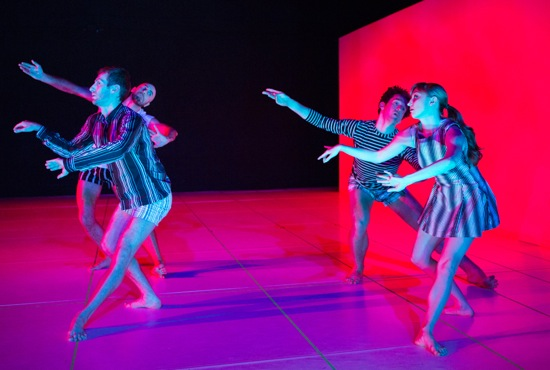 John Jasperse's Within between. Front: Simon Courchel and Maggie Cloud. Back (L to R): Burr Johnson and Stuart Singer. Photo: Yi-Chun Wu.