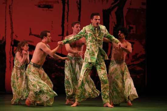 Douglas Williams as Polyphemus in Acis and Galatea, with (L to R) Lauren Grant, Dallas McMurray, Billy Smith, and Guillermo Estrada Jr. Photo: Ken Friedman