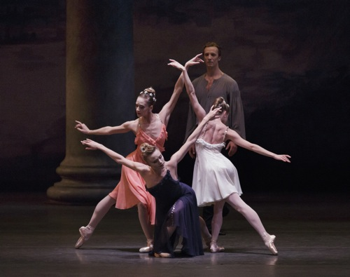 (L to R): Maria Kowroski, Sara Mearns, and Sterling Hyltin in Peter Martins's Morgen. Photo: Paul Kolnik