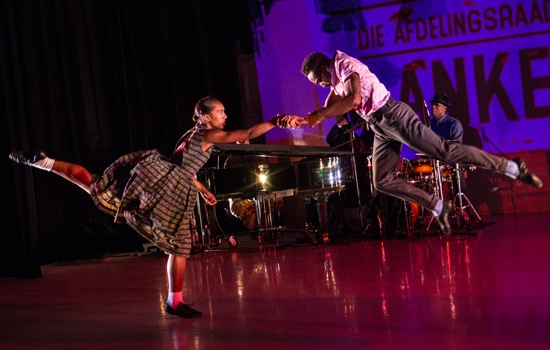 """Catherine Ellis Kirk and Jeremy """"Jae"""" Neal in Kyle Abraham's The Gettin'. Drummer Otis Brown III visible at back. Photo: Yi-Chun Wu"""