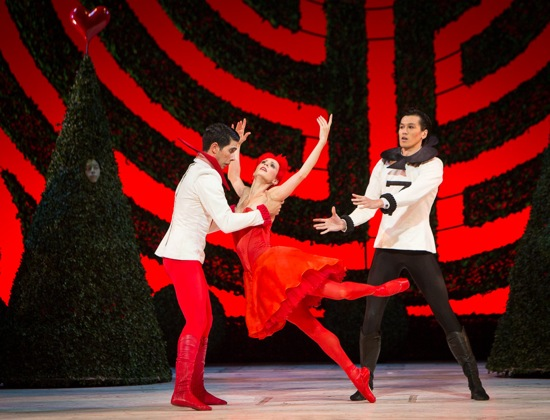 The Queen of Hearts (Greta Hodgkinson) and two of her beleaguered partners assail Christopher Wheeldon's parody of the Rose Adagio. Photo: Yi-Chun Wu
