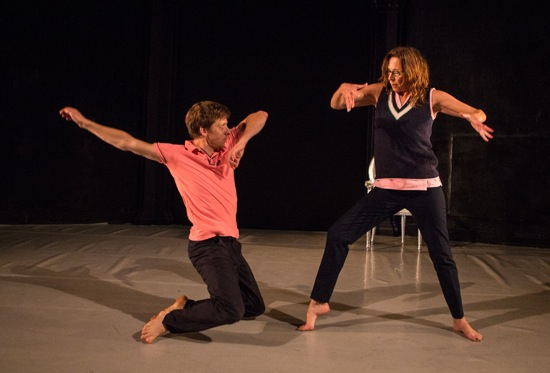Paul Matteson about to slam onto his knees before Sara Hook in their Bored House Guests. Photo: Yi-Chun Wu