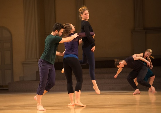 Hilary Easton's I Am With You. (L to R): Joshua Palmer, Alexandra Albrecht, Jessica Weiss, Michael Ingle, Emily Pope-Blackman. Photo: Yi-Chun Wu