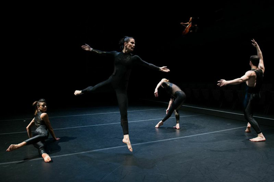 L to R: Jules Bakshi, Alexandra Berger, Emily Pope-Blackman, and Jake Szczypek in Douglas Dunn's Aidos. Photo: Christopher Duggan