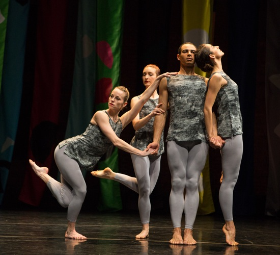 L to R): Solene Herault, Clara Freschi, Adrien Mornet, Flora Rogeboz in an Event staged by Robert Swinston for Compagnie CNDC-Angers. Photo: Yi-Chun Wu