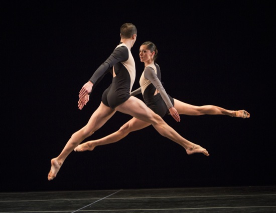Joshua Tuason and Melissa Toogood pass each other in the first part of Stephen Petronio's Locomotor/Non Locomotor. Photo: Yi-Chun Wu