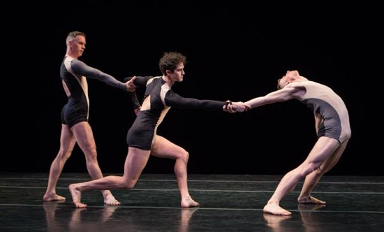 (L to R): Gino Grenek, Joshua Tuason, and Nicholas Sciscione in Stephen Petronio's Non Locomotor. Photo: Yi-Chun Wu