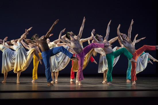 The Mark Morris Dance Group in Morris's Spring, Spring, Spring. Foreground L to R: Brandon Rudolph, Brian Lawson, Dallas McMurray, Aaron Loux. Photo: Ken Friedman