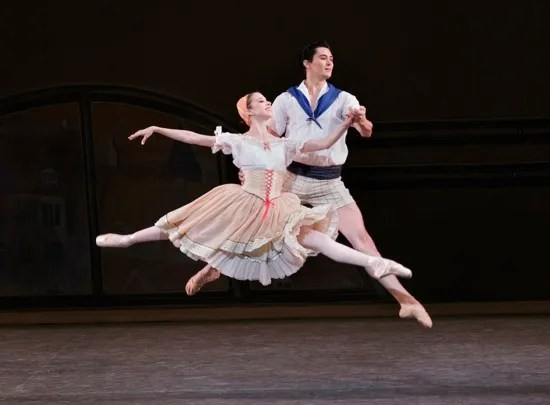 Erica Pereira and Allen Peiffer in Bournonville Divertissements. Photo: Paul Kolnik Spring Gala Choreography by: August Bournonville  Originally staged by Stanley Williams  Staged by Nilas Martins New York City Ballet   Credit Photo: Paul Kolnik studio@paulkolnik.com nyc 212-362-7778