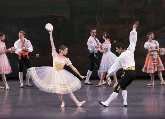 The Tarantella from Napoli. Foreground: Ashley Isaacs and Amar Ramasar. At back (L to R): Megan LeCrone, Austin Bachman, Harrison Coll, Lauren Lovette, and Indiana Woodward. Photo: Paul Kolnik