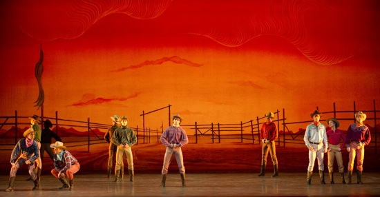 Agnes de Mille's cowboys against Oliver Smith's sky in Rodeo. Second from right: Misty Copeland. Photo: Gene Schiavone