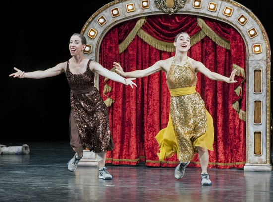 Anna Bass (L) and Monica Bill Barnes giving their all in Three Acts, Two Dancers, One Radio Host. Photo: Nancy Palmieri