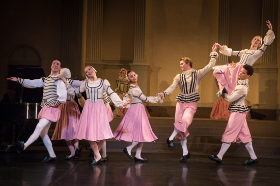 New York Theatre Ballet in Capriol Suite. Visible (L to R): Steven Campanella, Rie Ogura, Nayomi Van Brunt, Michael Wells, Elena Zahlmann, and Steven Melendez. Photo: Yi-Chun Wu