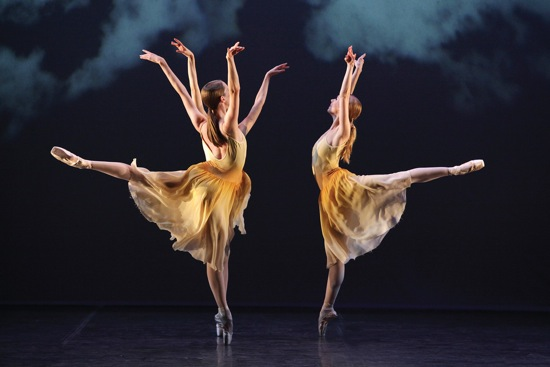 (L to R): Amy Wood, Christine Peixoto (hidden) and Victoria Hulland of the Sarasota Ballet in Christopher Wheeldon's The American. Photo: Frank Atura
