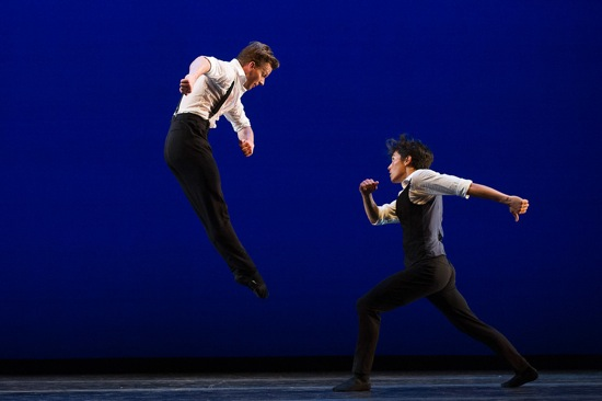 Johan Kobborg's Les Lutins. Daniel Ulbricht (L) feints with Jeffrey Cirio. Photo: Christopher Duggan