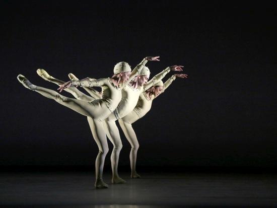 Frederick Ashton's Monotone I. (L to R): Isabella Boyleston, Joseph Gorak, and Stella Abrera. Photo: Marty Sohl