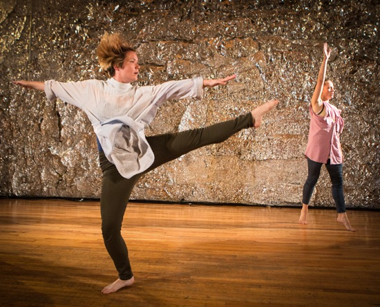 Rhea Speights (foreground) and Kyli Kleven in Jennifer Monson's Folkdances for an Untidy Cardinal. Photo: Yi-Chun Wu