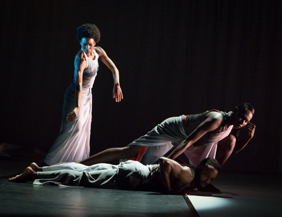 "(L to R): Tamisha Guy, Jeremy ""Jae"" Neal (prone), and Penda N'diaye in Abraham's Absent Matter. Photo: Yi-Chun Wu"
