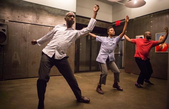 The Scaffold Room's final dance: (L to R): Paul Hamilton, Omagbitse Omagbemi, and Malcolm Low. Photo: Yi-Chun Wu