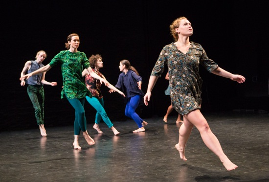 Tere O'Connors' The Goodbye Studies. (L to R): Oisin Monaghan, Mary Read, Lily Gold, Tess Dworman, and Laurel Snyder. Photo: Yi-Chun Wu