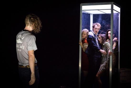 Martin Dûrov contemplates (L to R) Emma Whitely, Jason Cianciulli, Lavinia Vago, and Laja Field. Photo: Yi-Chun Wu