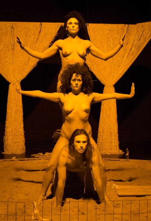 Top to bottom: Vanessa Soudan, Bailey Catherine Nolan, and Charley Parden in Elektra. Yi-Chun Wu