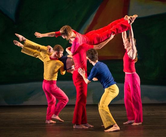 Trisha Brown's Present Tense. (L): Stuart Shugg lifts Tara Lorenzen; L to R): Marc Crousillat, Olsi Gkeci, and Jamie Scott hoist Leah Ives. Photo: Yi-Chun Wu