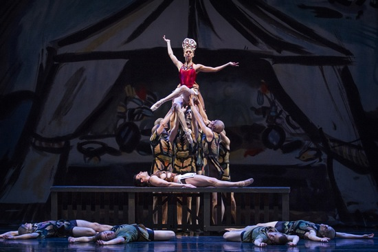 Pacific Northwest Ballet's l Lesley Rausch as The Siren triumphs over Jonathan Porretta as The Prodigal Son in Balanchine's 1929 work. Photo © Lindsay Thomas.