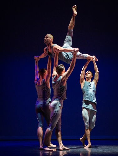 Andrea Carruccio of BalletBoyz® aloft in Christopher Wheeldon's Mesmerics. Photo: Yi-Chun Wu