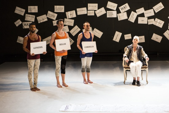 (L to R): Marcus Bellingham, Ryan O'Neill, and Kevin Coquelard identify themselves as the daughters of Lear (Valda Setterfield). Photo: Maria Baranova