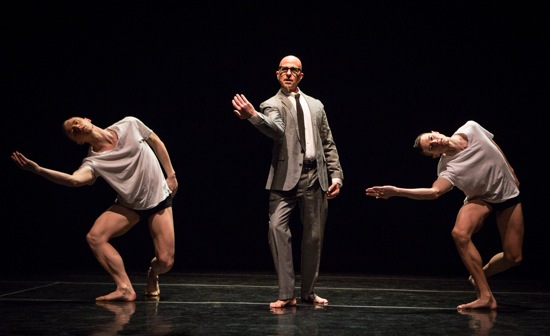 Stephen Petronio, flanked by Nicholas Sciscione (L) and Joshua Tuason in Petronio's Big Daddy (Deluxe). Photo: Yi-Chun Wu