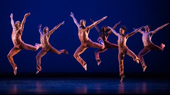 Dayton Contemporary Dance Company in Donald McKayle's Rainbow 'Round My Shoulder. L to R, front row: Demetrius Tabron, Joshua Ishmon, Quentin A. V. Sledge L to R, back row: Alvin Rangel, Devin Baker, Robert Pulido
